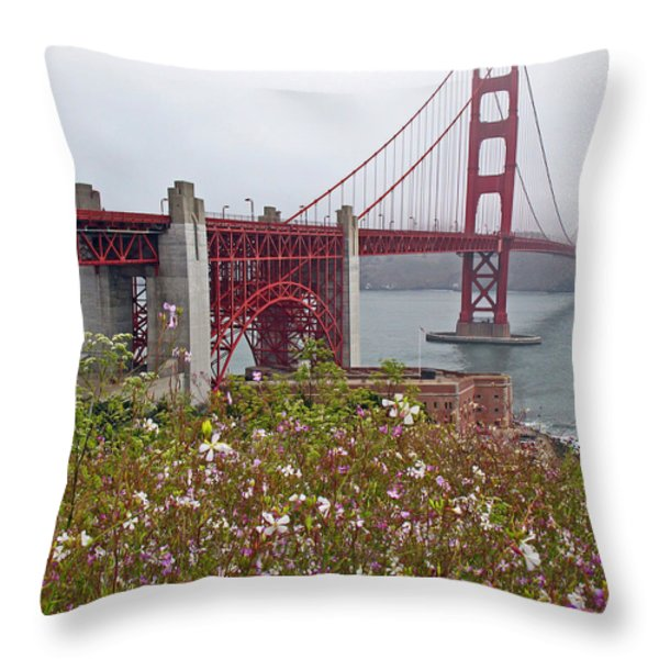 Golden Gate Bridge And Summer Flowers Throw Pillow by Connie Fox