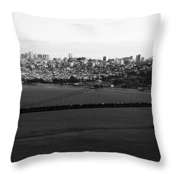Golden Gate Bridge In Black And White Throw Pillow by Linda Woods