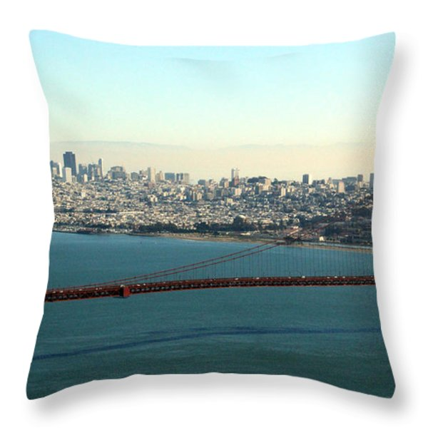 Golden Gate Bridge Throw Pillow by Linda Woods