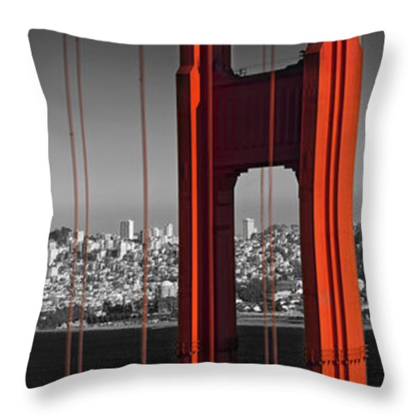 Golden Gate Bridge Panoramic Downtown View Throw Pillow by Melanie Viola