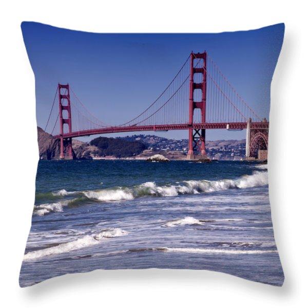 Golden Gate Bridge - Seen from Baker Beach Throw Pillow by Melanie Viola