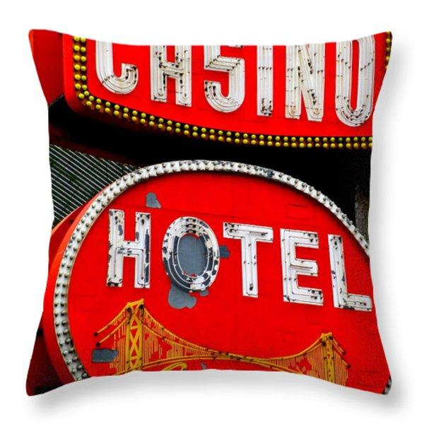 Golden Gate Casino Hotel Throw Pillow by Randall Weidner