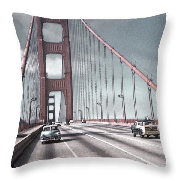 Golden Gate Crossing Throw Pillow by Eric  Bjerke Sr