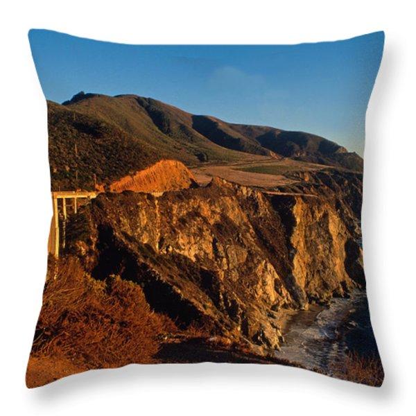 Golden Glow on Big Sur 2 Throw Pillow by Kathy Yates