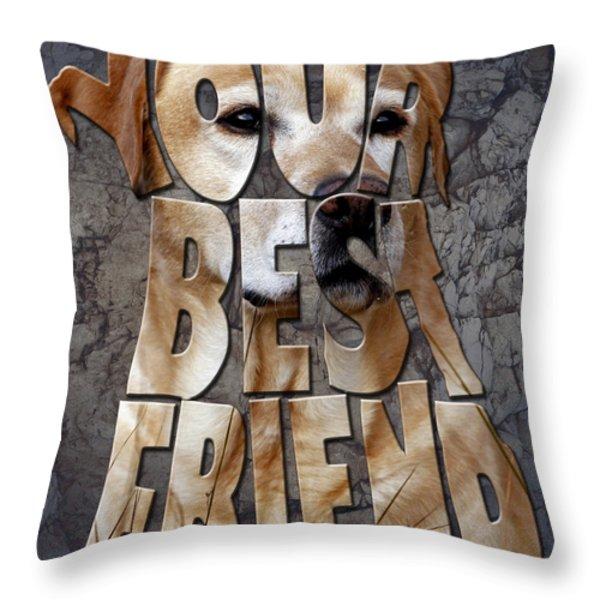 Golden Labrador Retriever Typography Art Throw Pillow by Georgeta Blanaru