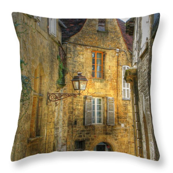 Golden Light In Sarlat Throw Pillow by Douglas J Fisher
