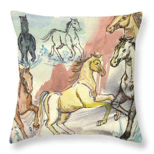 Golden Mare Throw Pillow by Carol Oufnac Mahan