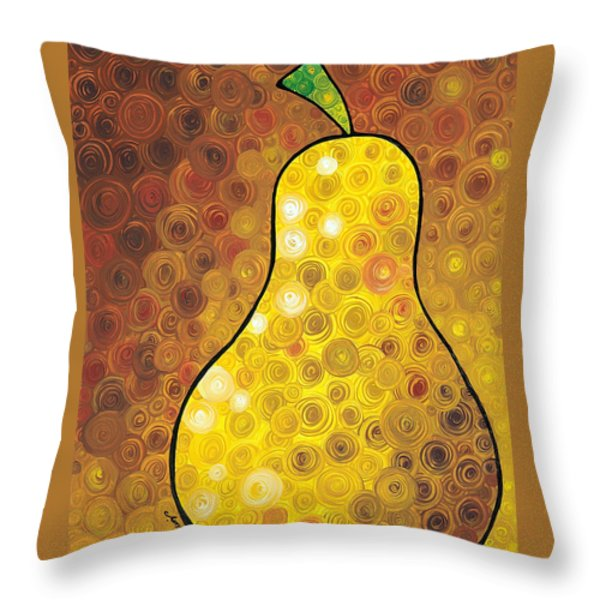 Golden Pear Throw Pillow by Sharon Cummings