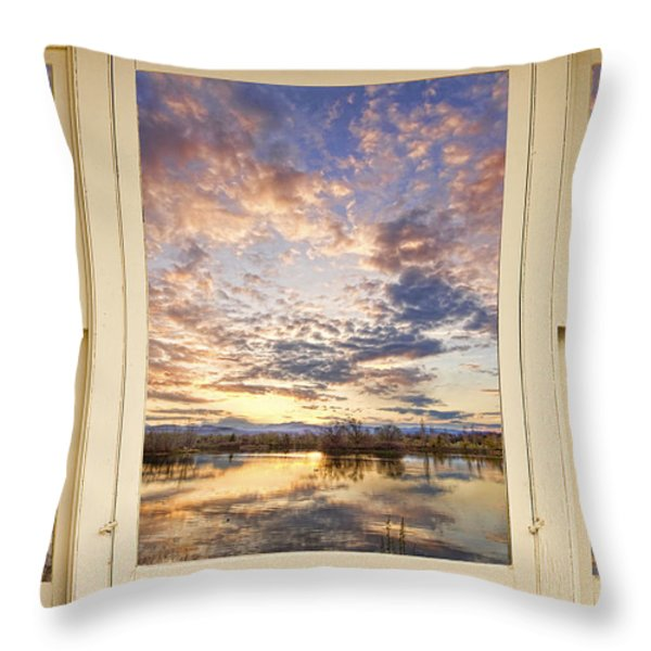 Golden Ponds Scenic Sunset Reflections 4 Yellow Window View Throw Pillow by James BO  Insogna