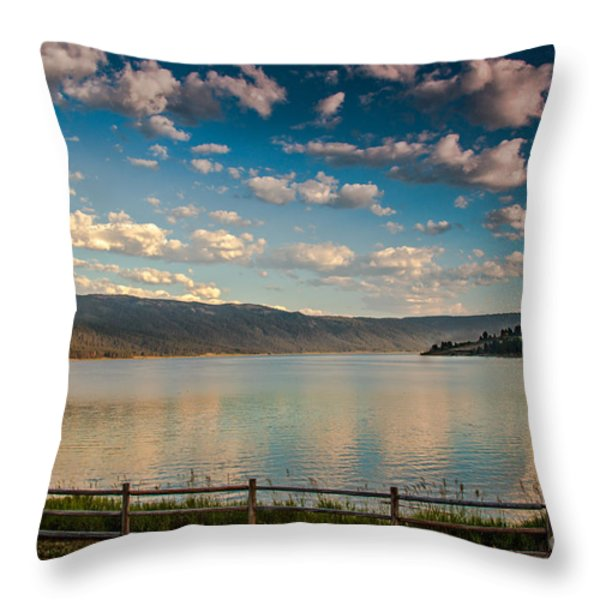 Golden Reflection On Lake Cascade Throw Pillow by Robert Bales
