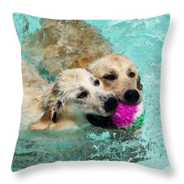Golden Retriever Art - Let's Share Throw Pillow by Sharon Cummings