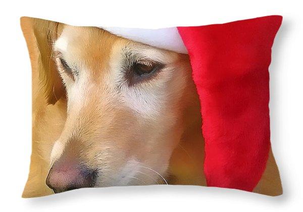 Golden Retriever Dog In Santa Hat  Throw Pillow by Jennie Marie Schell