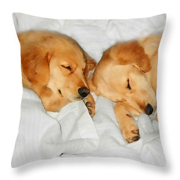 Golden Retriever Dog Puppies Sleeping Throw Pillow by Jennie Marie Schell