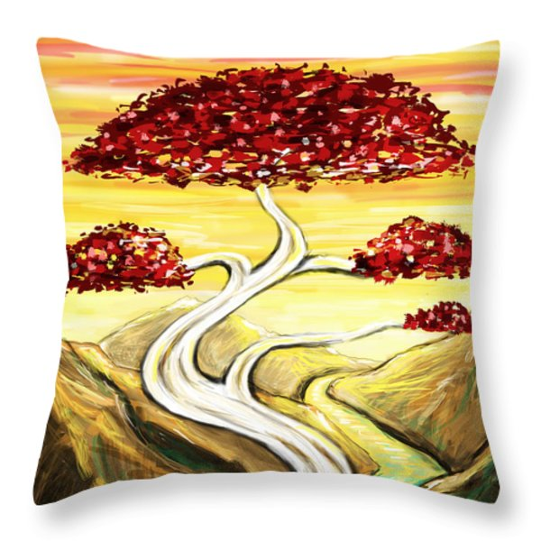 Golden Sunrise Throw Pillow by Shawna  Rowe
