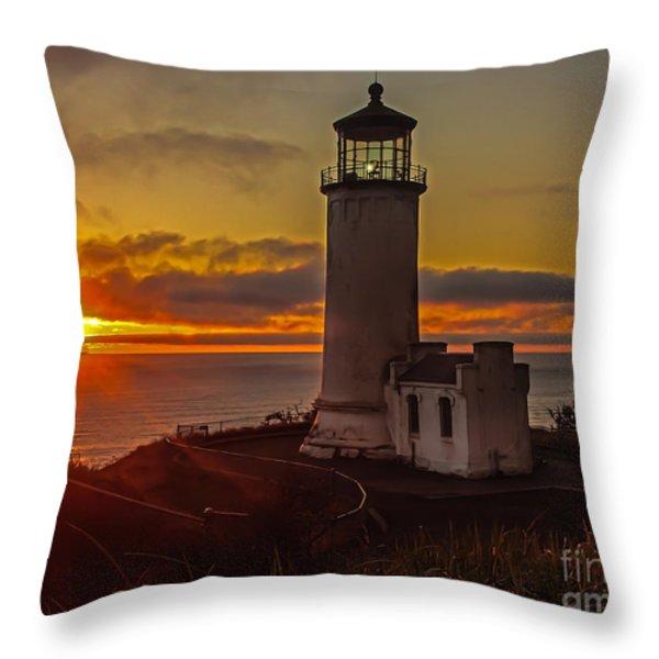 Golden Sunset At North Head Lighthouse Throw Pillow by Robert Bales