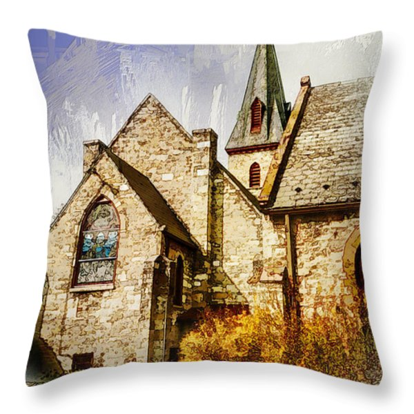 Golden Trinity Throw Pillow by Julia Springer