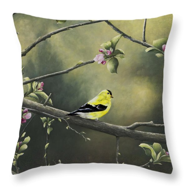 Goldfinch Throw Pillow by Mary Ann King