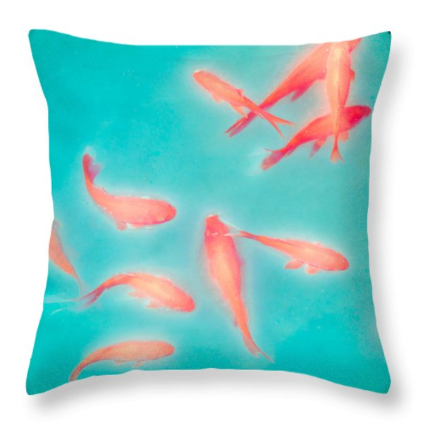 Goldfish - Glowing Fish - Gary Heller Throw Pillow by Gary Heller
