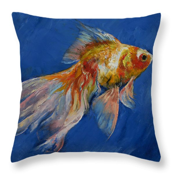 Goldfish Throw Pillow by Michael Creese