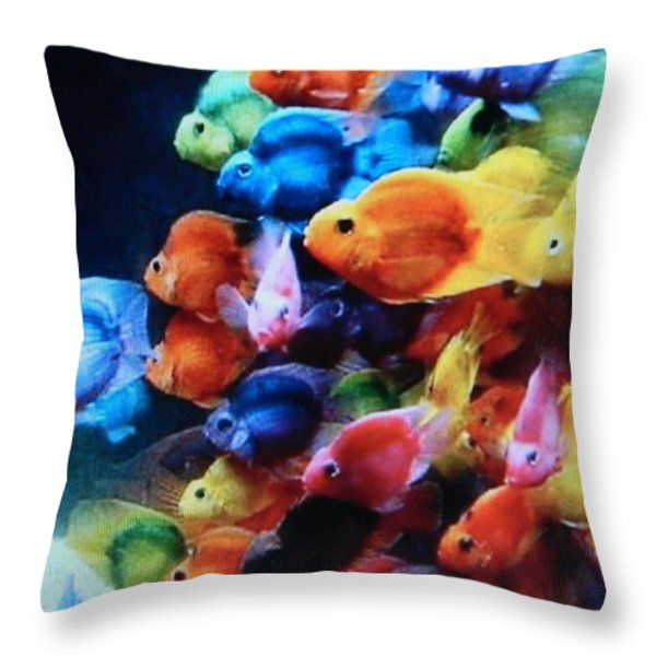 Goldfish Symphony Throw Pillow by Gunter  Hortz