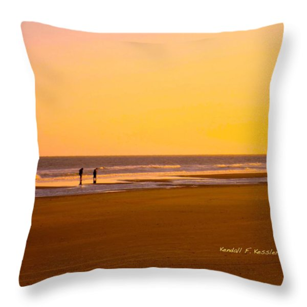 Goldlen Shore At Isle Of Palms Throw Pillow by Kendall Kessler