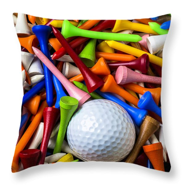 Golf Ball And Tees Throw Pillow by Garry Gay