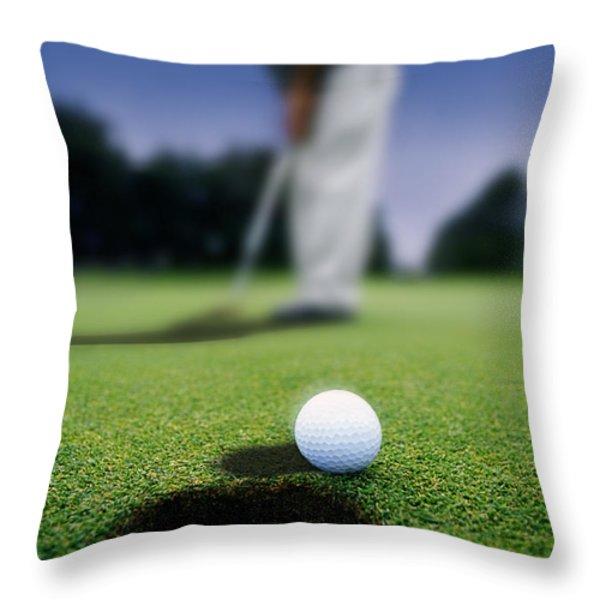 Golf Ball Near Cup Throw Pillow by Darren Greenwood