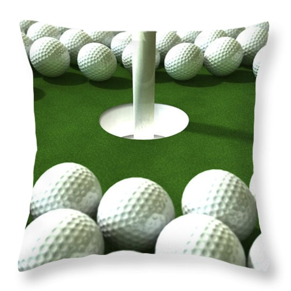 Golf Hole Assault Throw Pillow by Allan Swart
