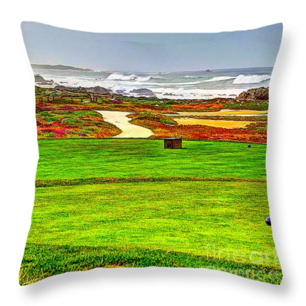 Golf Tee At Spyglass Hill Throw Pillow by Jim Carrell