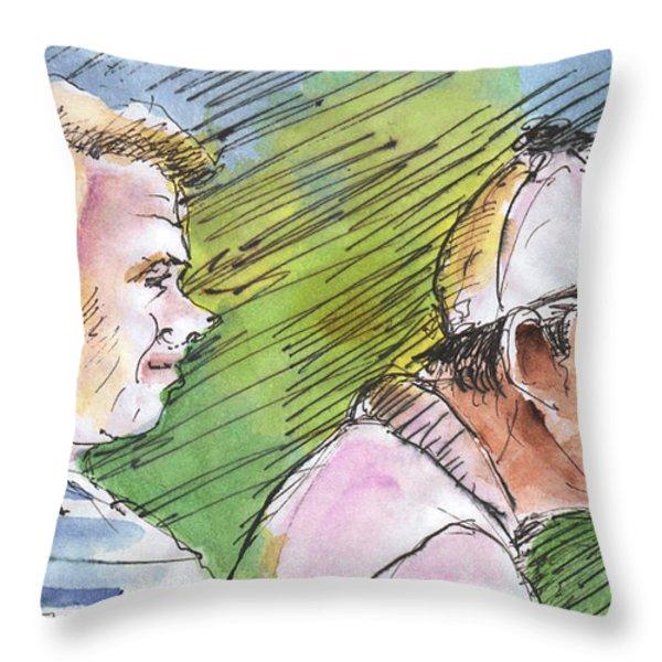 Golfers In Soufflenheim 01 Throw Pillow by Miki De Goodaboom