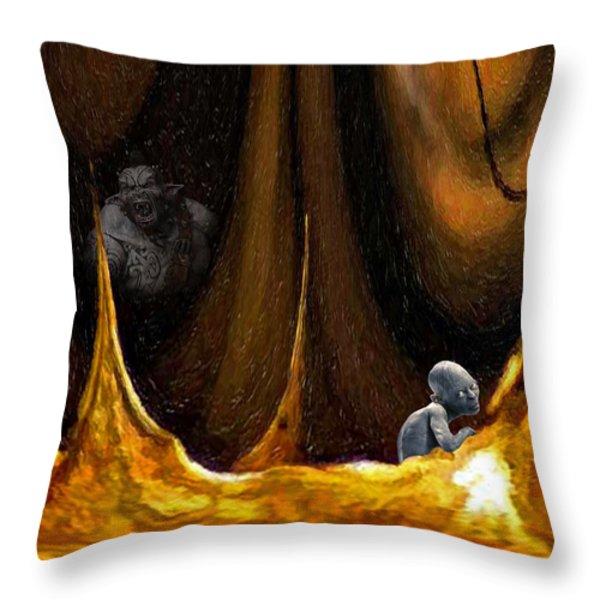 Gollum Shows the Way Throw Pillow by Steve Harrington