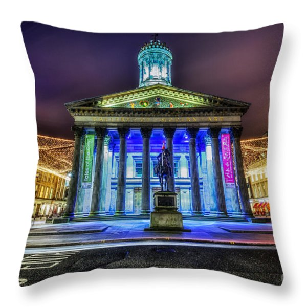 Goma Glasgow Lit Up Throw Pillow by John Farnan