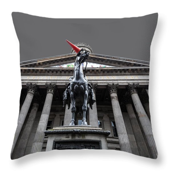 GOMA Glasgow Pop Art Grey Throw Pillow by John Farnan