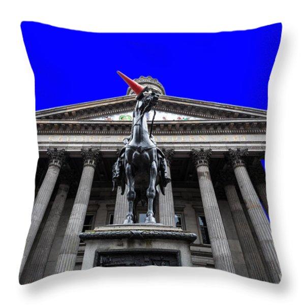Goma pop art blue Throw Pillow by John Farnan