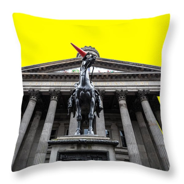 Goma pop art yellow Throw Pillow by John Farnan