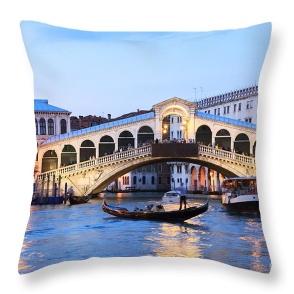 Gondola in front of Rialto bridge at dusk Venice Italy Throw Pillow by Matteo Colombo
