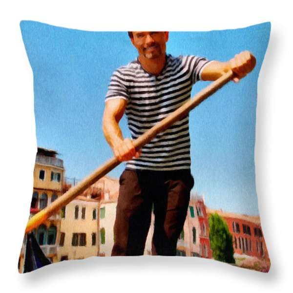 Gondolier Throw Pillow by Jeff Kolker
