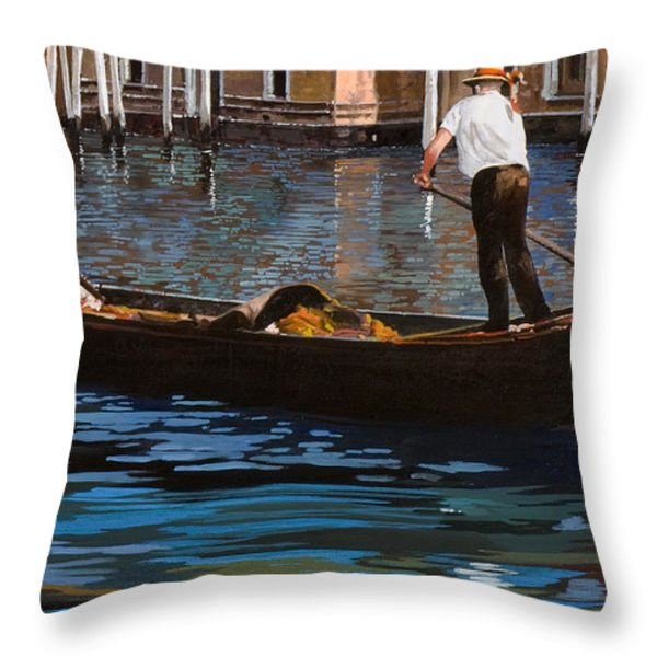gondoliere sul canale Throw Pillow by Guido Borelli