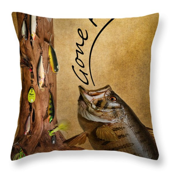 Gone Fishin Throw Pillow by Bill Wakeley