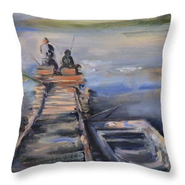 Gone Fishin' Throw Pillow by Donna Tuten