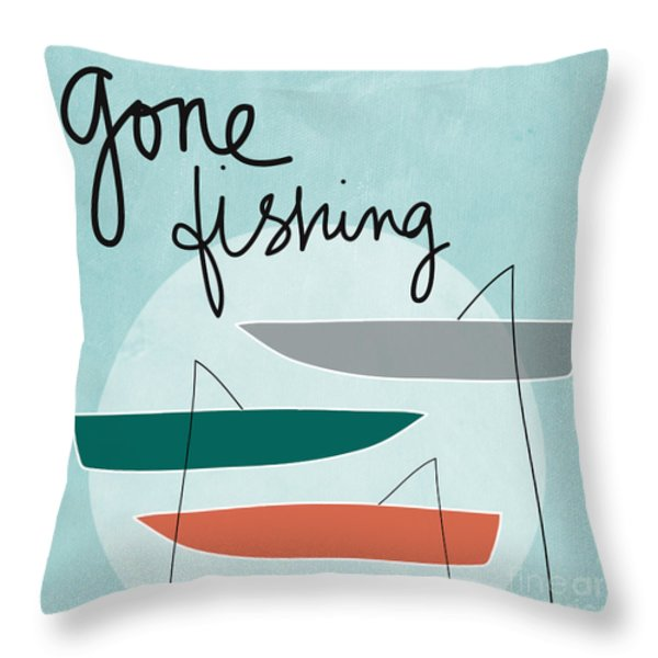 Gone Fishing Throw Pillow by Linda Woods