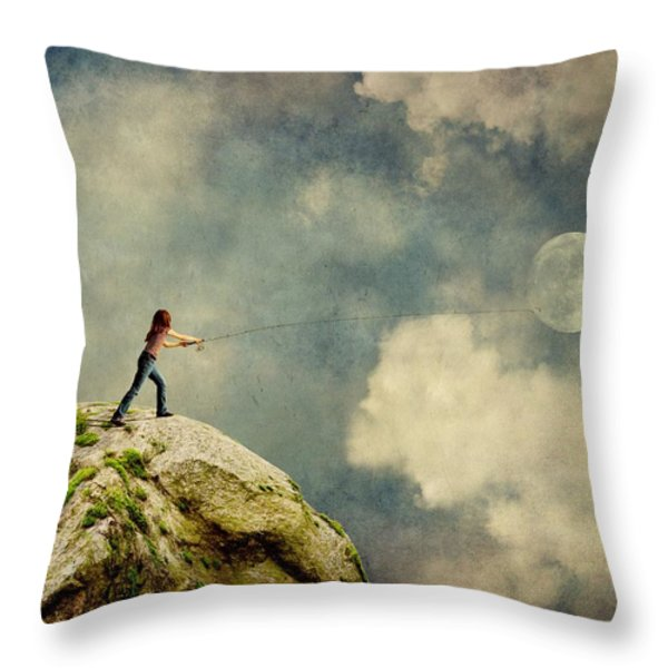 Gone Fishing Throw Pillow by Sonya Kanelstrand