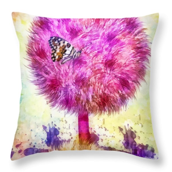 Good Luck Tree Throw Pillow by Mo T