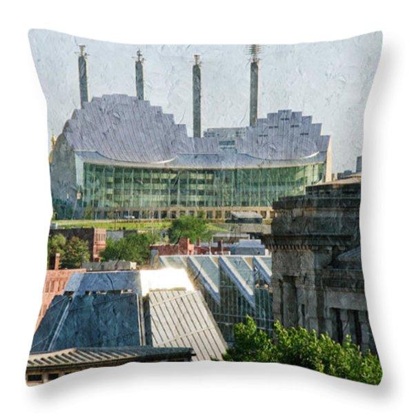 Good Morning Kansas City Skyline Painterly Throw Pillow by Andee Design