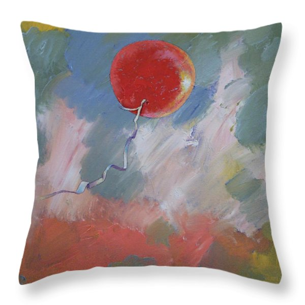 Goodbye Red Balloon Throw Pillow by Michael Creese