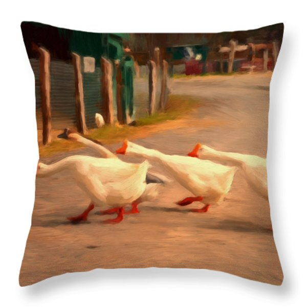 Goose Crossing Throw Pillow by Michael Pickett