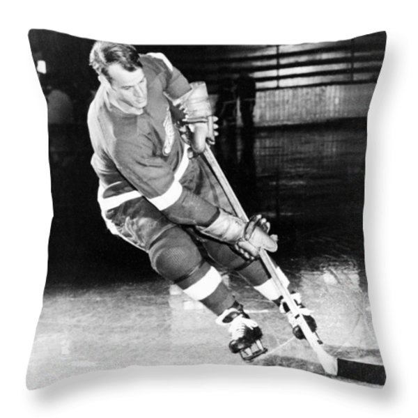 Gordie Howe skating with the puck Throw Pillow by Gianfranco Weiss