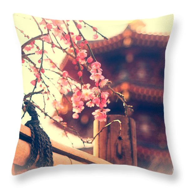Gorgeous Pagoda and Plum Blossoms with Bamboo Fence Throw Pillow by Beverly Claire Kaiya