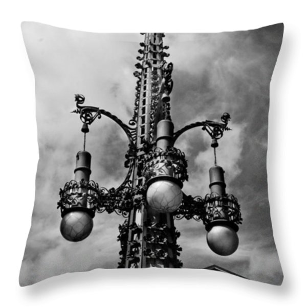 Gothic Lamp Post In Barcelona Throw Pillow by Denise Dube