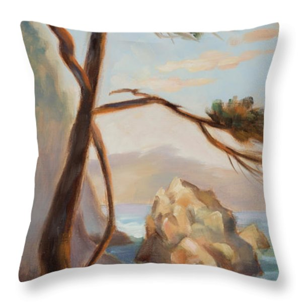 Graceful Pine In Afternoon Light At Point Lobos Throw Pillow by Karin  Leonard